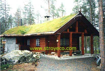 Hand-made logs house, Norway. Photo 1
