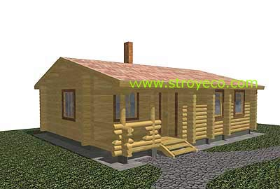 The project of wooden house D62.  View 1
